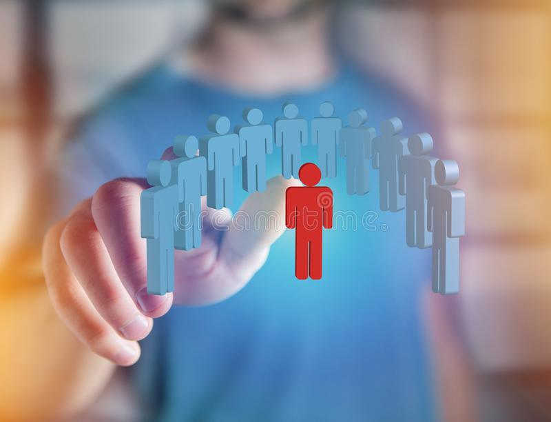 Intruso en un grupo de gente de la red - estafa del negocio y del contacto imagen de archivo libre de regalías