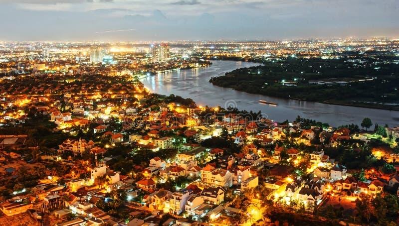 Intrycknattlandskap av den Ho Chi Minh staden från hög sikt arkivfoton