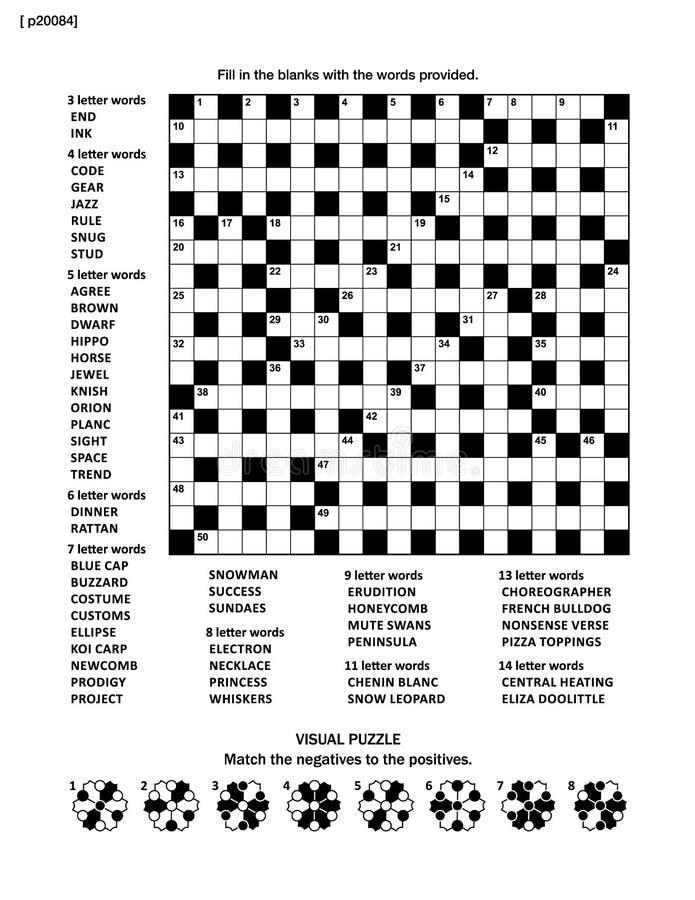 Intryguje stronę z crossword słowa grze i obrazuje rzeszoto royalty ilustracja