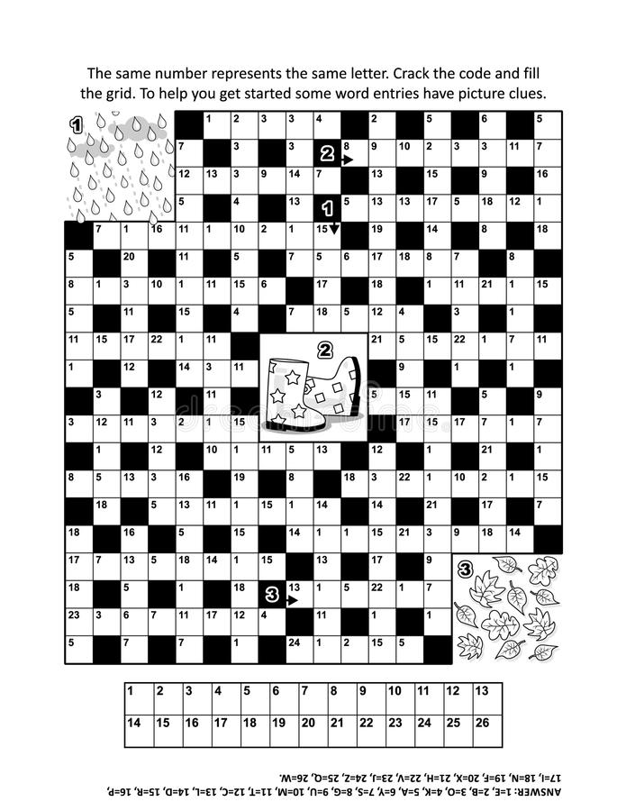 Intryguje stronę z jesieni codebreaker słowa o temacie grze ilustracja wektor