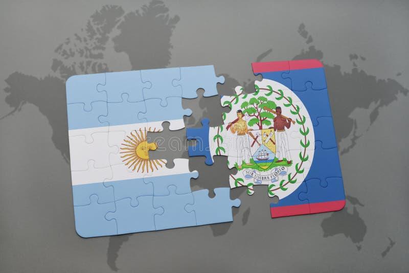 intryguje z flaga państowowa Argentina i Belize na światowej mapy tle ilustracji