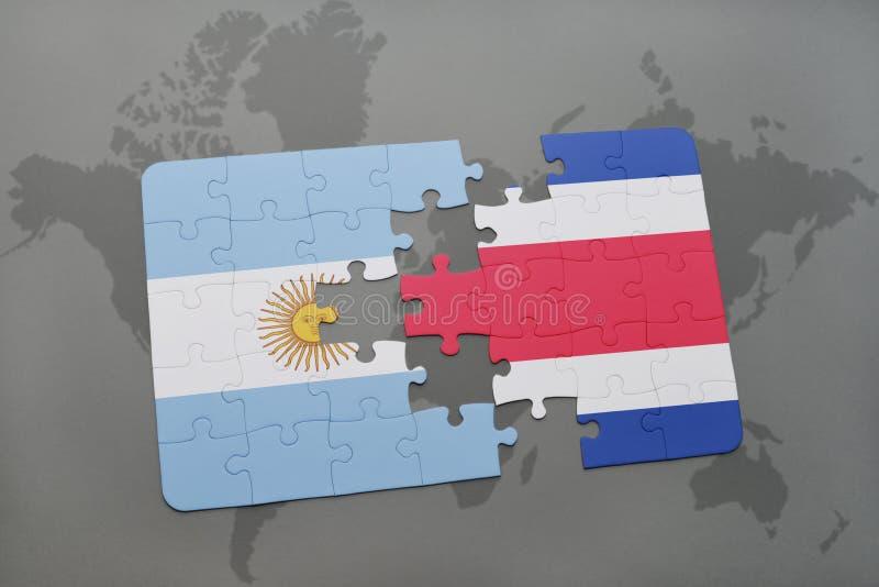 intryguje z flaga państowowa Argentina i costa rica na światowej mapy tle ilustracji