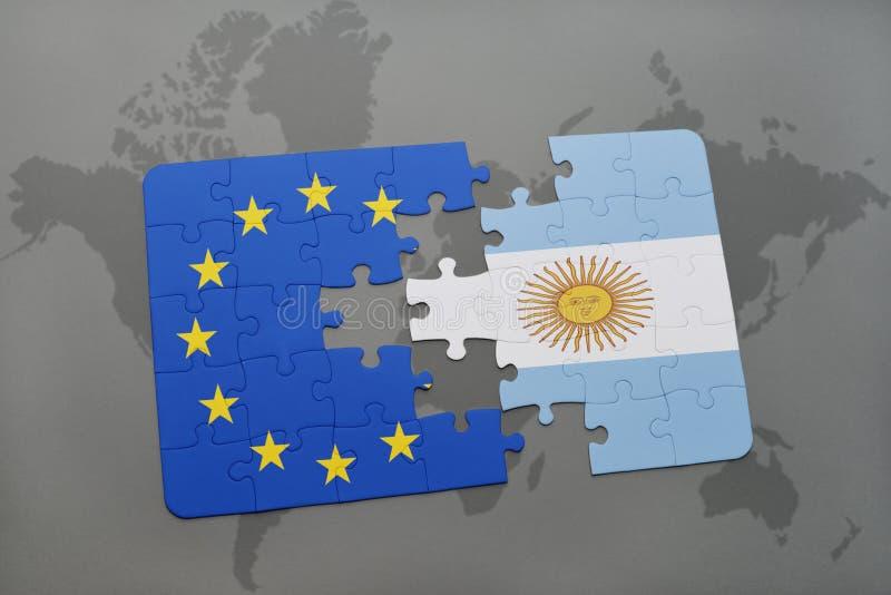 Intryguje z flaga państowowa Argentina i europejskim zjednoczeniem na światowej mapie royalty ilustracja