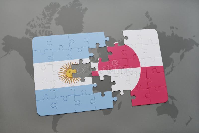 intryguje z flaga państowowa Argentina i Greenland na światowej mapy tle ilustracja wektor