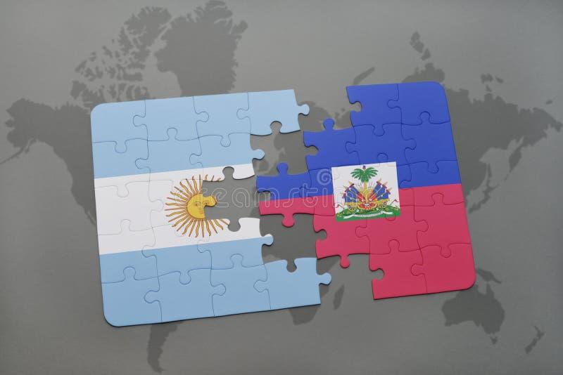 intryguje z flaga państowowa Argentina i Haiti na światowej mapy tle ilustracji