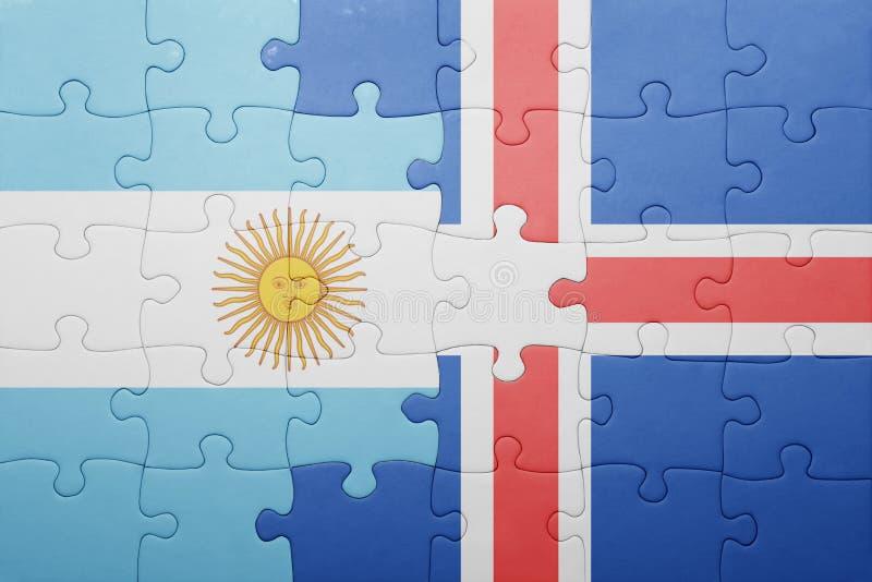 intryguje z flaga państowowa Argentina i Iceland ilustracja wektor