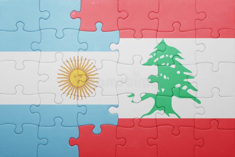 intryguje z flaga państowowa Argentina i Lebanon ilustracja wektor