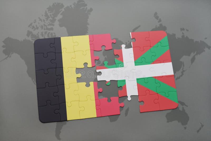intryguje z flaga państowowa Belgium i baskijski kraj na światowej mapy tle royalty ilustracja