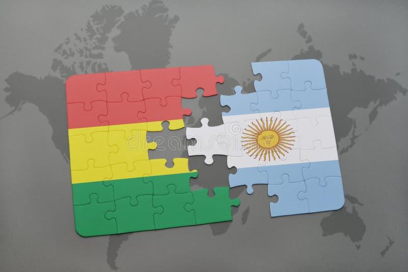 intryguje z flaga państowowa Bolivia i Argentina na światowej mapy tle ilustracja wektor