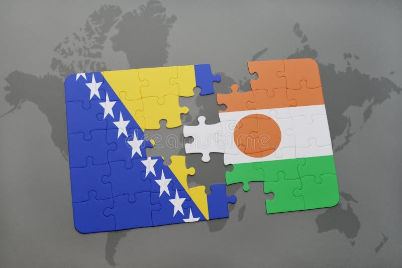 intryguje z flaga państowowa Bosnia, Herzegovina i Niger na światowej mapie zdjęcie stock