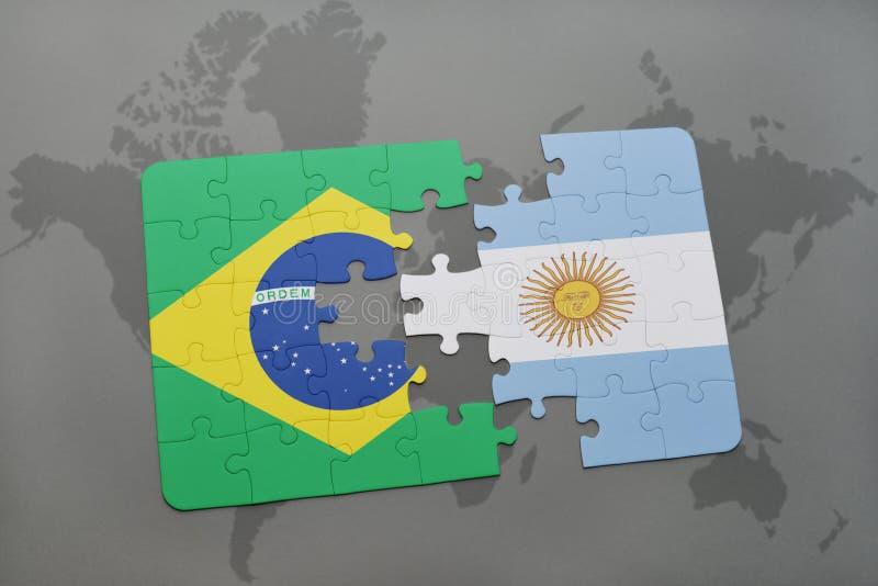 intryguje z flaga państowowa Brazil i Argentina na światowej mapy tle ilustracja wektor
