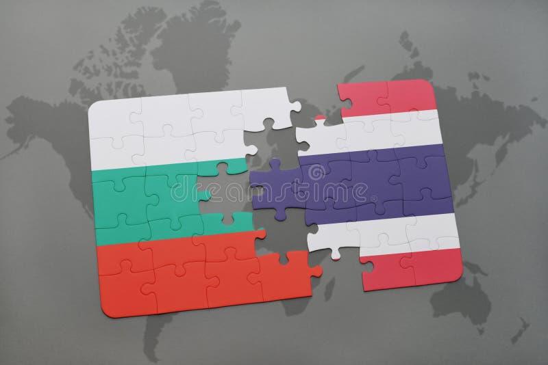 intryguje z flaga państowowa Bulgaria i Thailand na światowej mapie ilustracja wektor