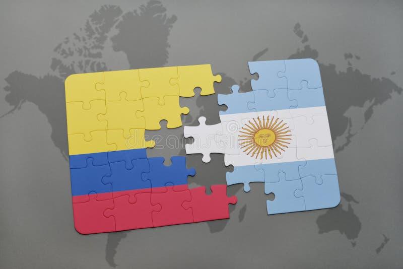 intryguje z flaga państowowa Colombia i Argentina na światowej mapy tle ilustracji