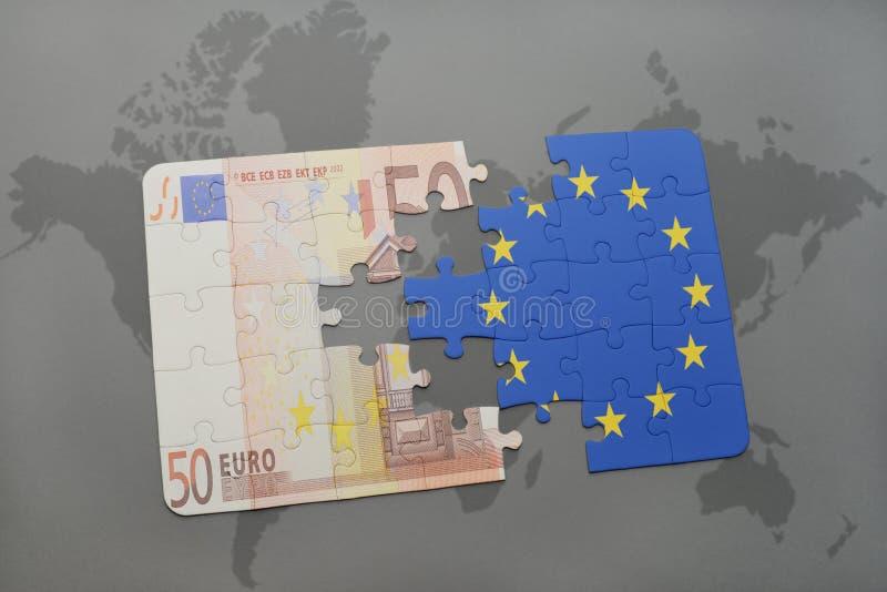 intryguje z flaga państowowa europejskiego zjednoczenia i euro banknot na światowej mapy tle ilustracja wektor