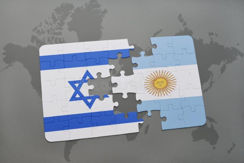 intryguje z flaga państowowa Israel i Argentina na światowej mapy tle ilustracji