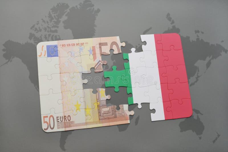 intryguje z flaga państowowa Italy i euro banknot na światowej mapy tle ilustracji