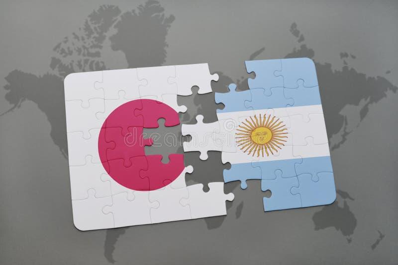intryguje z flaga państowowa Japan i Argentina na światowej mapy tle ilustracji