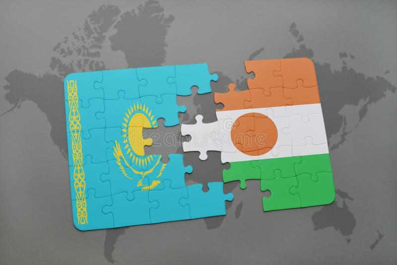intryguje z flaga państowowa Kazakhstan i Niger na światowej mapie zdjęcia royalty free