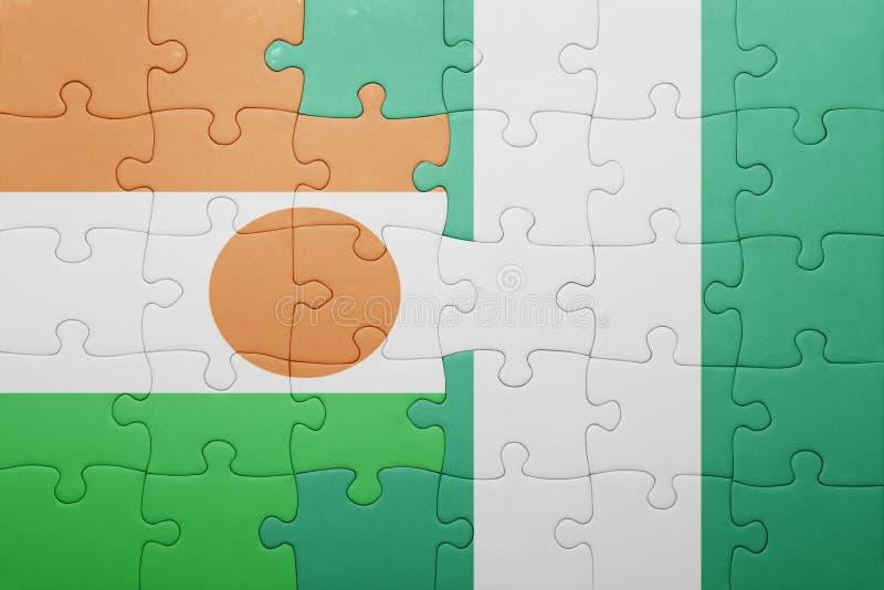 intryguje z flaga państowowa Niger i Nigeria fotografia stock