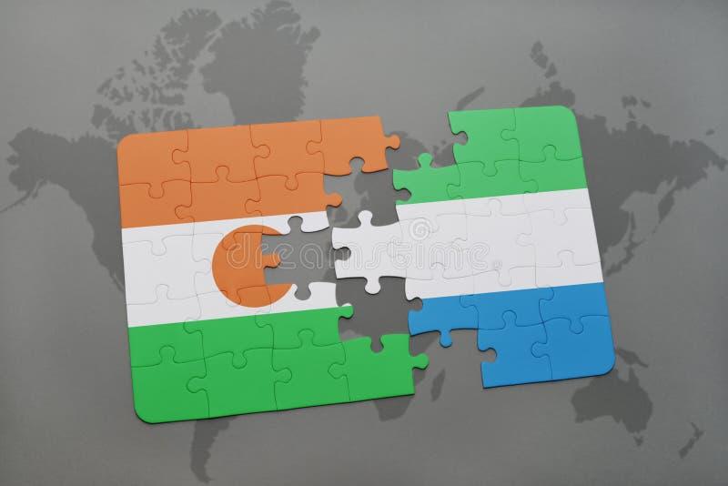intryguje z flaga państowowa Niger leone na światowej mapie i sierra obraz stock