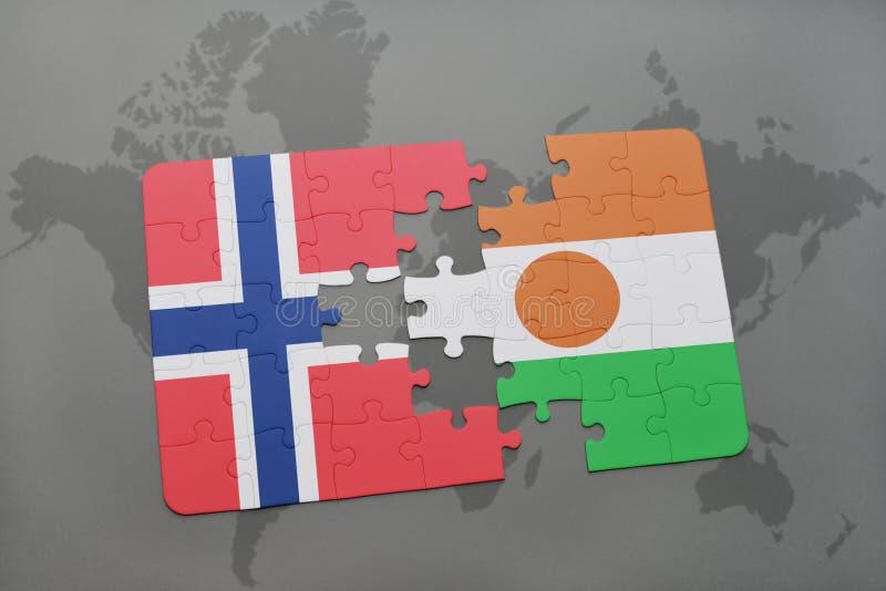 intryguje z flaga państowowa Norway i Niger na światowej mapie obraz stock
