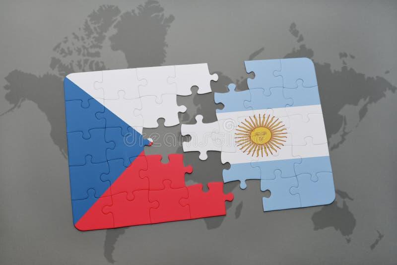 intryguje z flaga państowowa republika czech i Argentina na światowej mapie ilustracja wektor