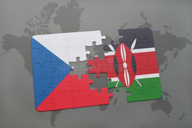 intryguje z flaga państowowa republika czech i Kenya na światowej mapie ilustracja wektor