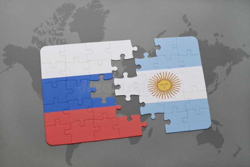 intryguje z flaga państowowa Russia i Argentina na światowej mapy tle ilustracja wektor