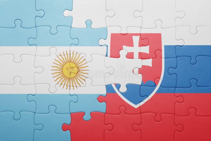 intryguje z flaga państowowa Slovakia i Argentina ilustracja wektor