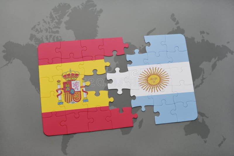 intryguje z flaga państowowa Spain i Argentina na światowej mapy tle ilustracja wektor