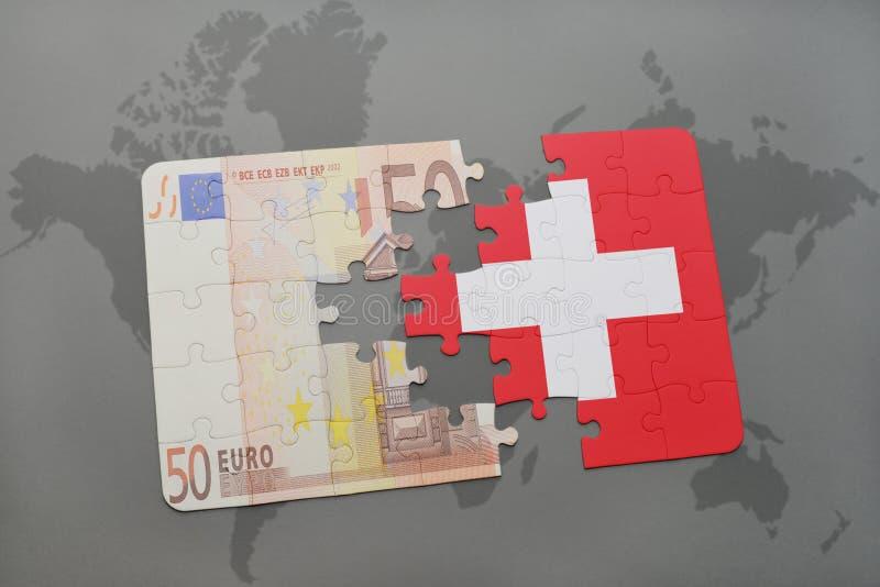intryguje z flaga państowowa Switzerland i euro banknot na światowej mapy tle ilustracji