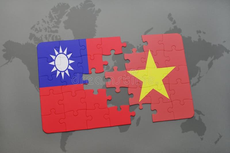 intryguje z flaga państowowa Taiwan i Vietnam na światowej mapy tle ilustracja wektor