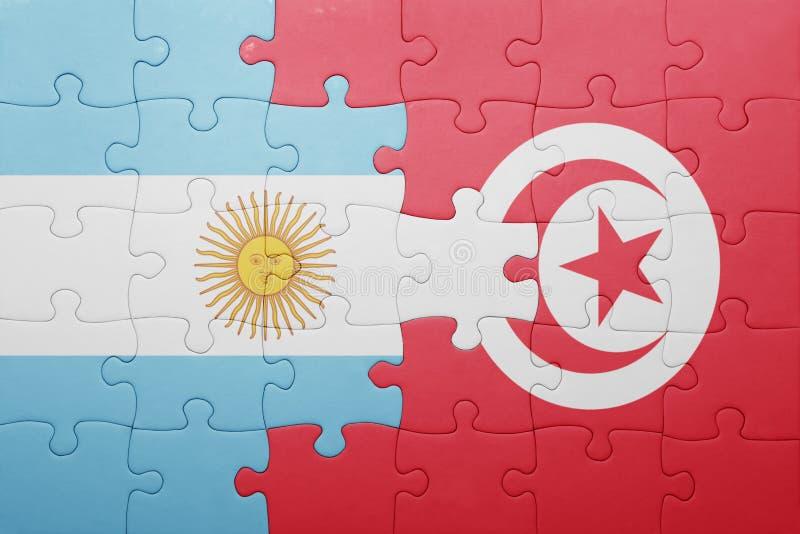 intryguje z flaga państowowa Tunisia i Argentina royalty ilustracja