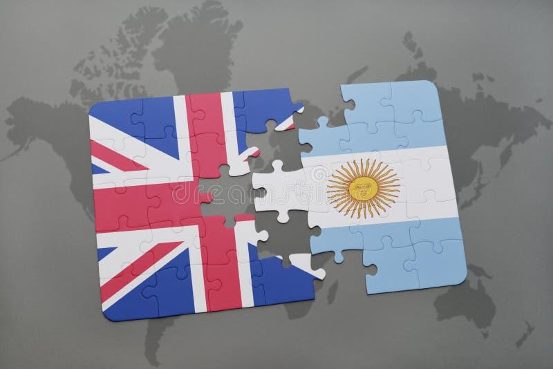 intryguje z flaga państowowa wielki Britain i Argentina na światowej mapy tle ilustracja wektor