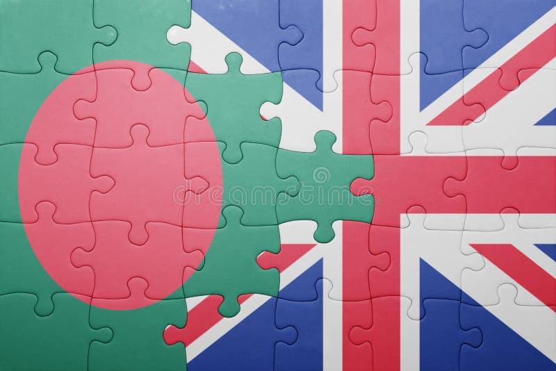 Intryguje z flaga państowowa wielki Britain i Bangladesh zdjęcia royalty free