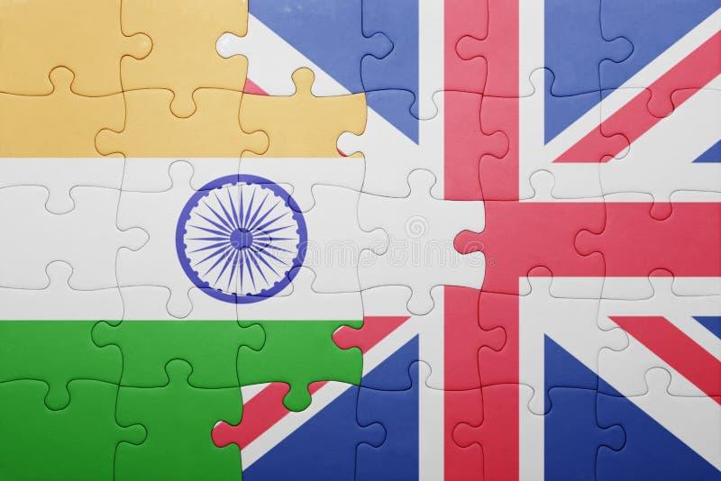 Intryguje z flaga państowowa wielki Britain i ind fotografia stock
