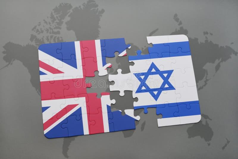 Intryguje z flaga państowowa wielki Britain i Israel na światowej mapy tle ilustracji