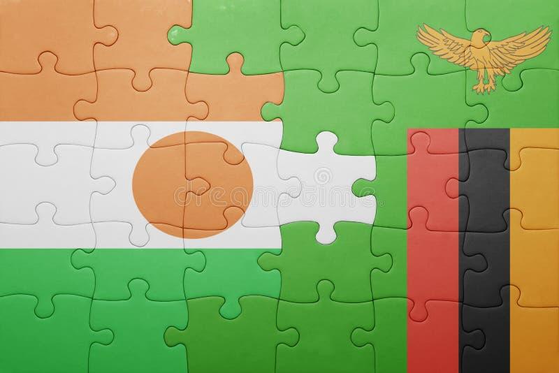intryguje z flaga państowowa zambiowie i Niger zdjęcie royalty free