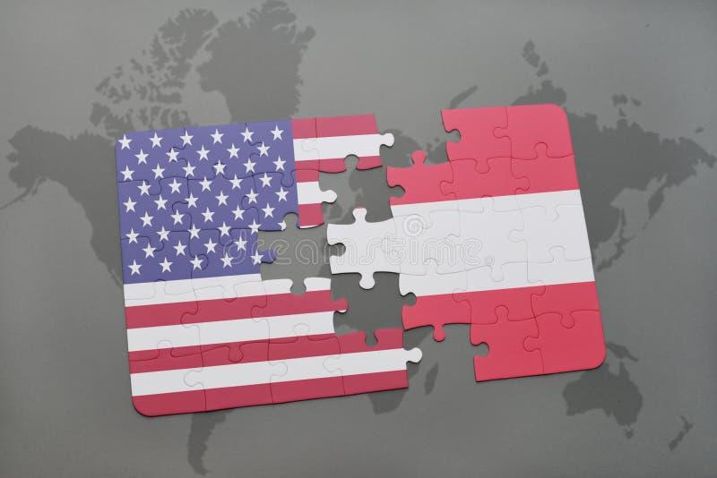 intryguje z flaga państowowa zlani stany America i Austria na światowej mapy tle ilustracji