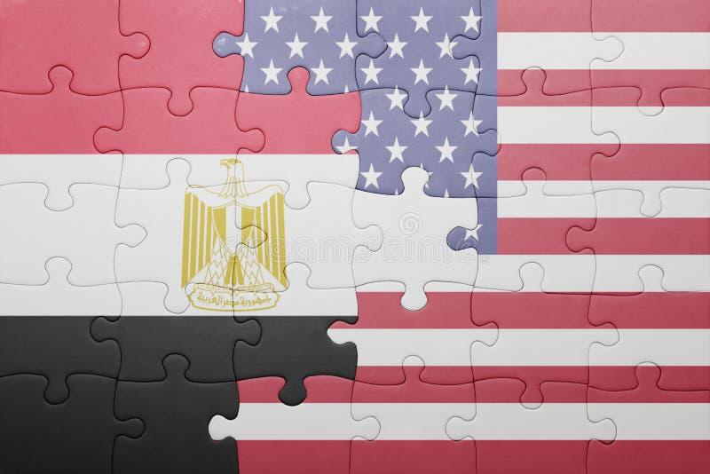 Intryguje z flaga państowowa zlani stany America i Egypt zdjęcia stock