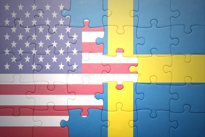Intryguje z flaga państowowa zlani stany America i Sweden ilustracja wektor