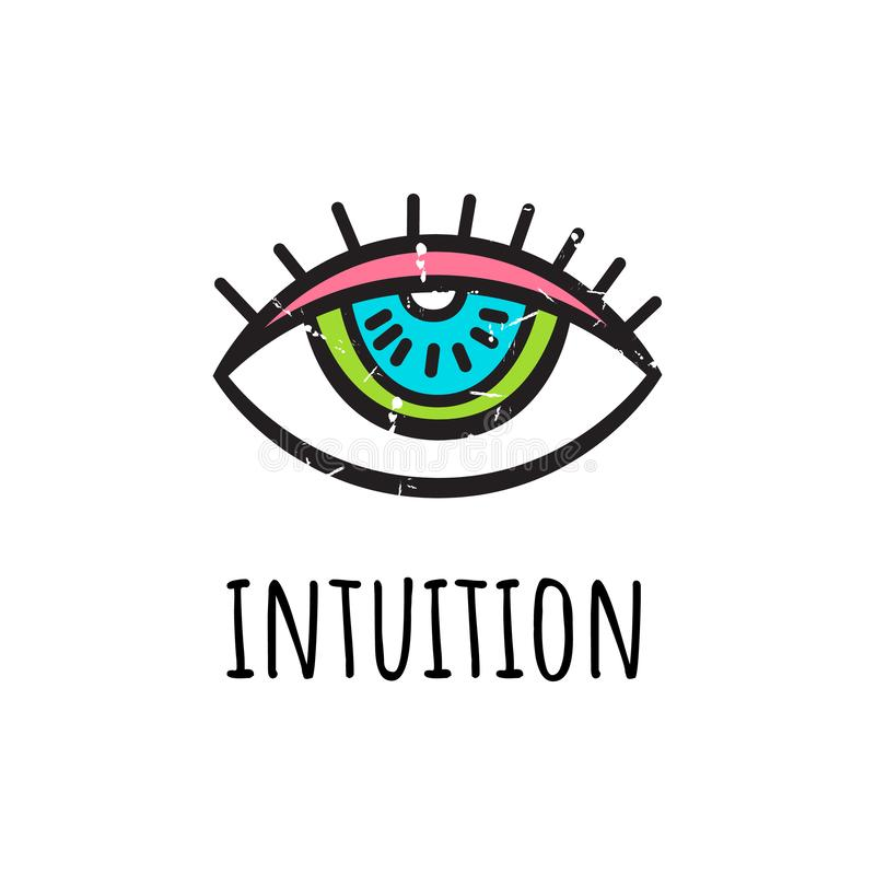 intuition Auch im corel abgehobenen Betrag Das dritte Auge in der von Hand gezeichneten Art stock abbildung