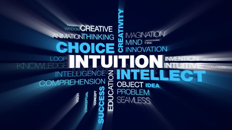 Intuition intellect choice creativity acumen decision brain business awareness success insight animated word cloud. Background in uhd 4k 3840 2160 royalty free illustration