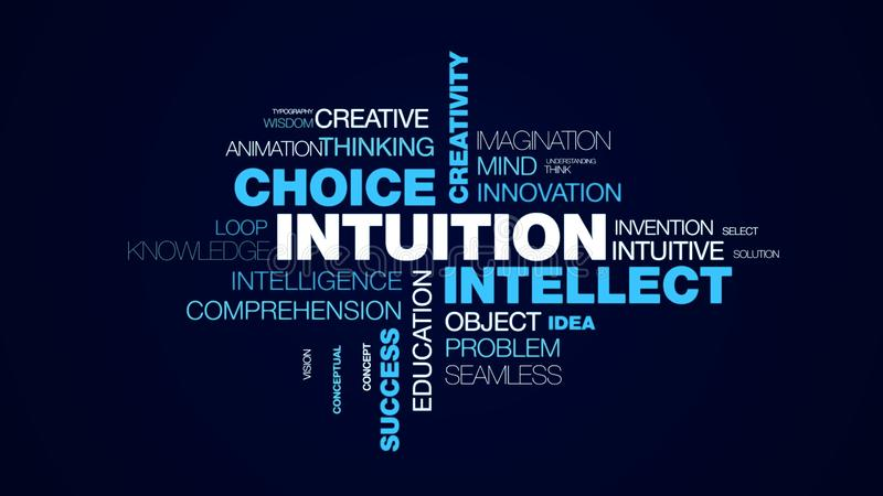 Intuition intellect choice creativity acumen decision brain business awareness success insight animated word cloud. Background in uhd 4k 3840 2160 vector illustration