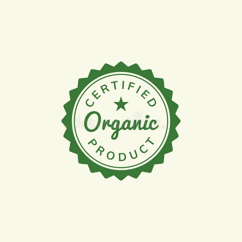 Intygad organisk illustration för produktstämpelemblem royaltyfri illustrationer