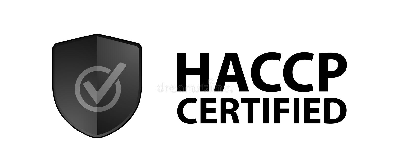 Intygad säkerhetssköld HACCP - den svarta vektorillustrationen - isolerat på vit bakgrund vektor illustrationer