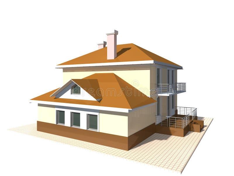 Intymna chałupa, budynku mieszkalnego 3v ilustracja na białym tle fotografia royalty free