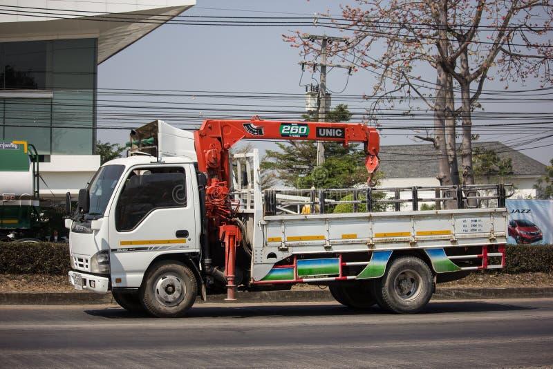 Intymna Isuzu ciężarówka z Unic żurawiem zdjęcie royalty free