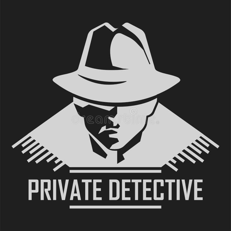Intymnego detektywa logo wektorowy mężczyzna w kapeluszu dla dochodzenie agenci usługowa royalty ilustracja