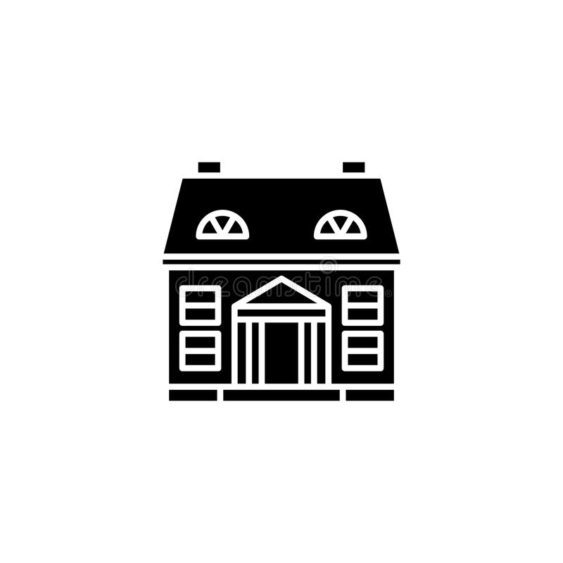 Intymny budynku czerni ikony pojęcie Intymnego budynku płaski wektorowy symbol, znak, ilustracja ilustracja wektor